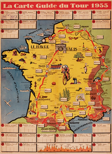 Map Of France Poster.The Tour De France 1955 Map Of France And Bicycle Route Original