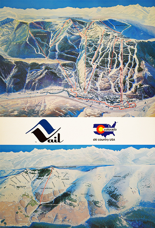 VAIL - SKI RESORT - COLORADO - MAP. Original, vintage, poster by ...